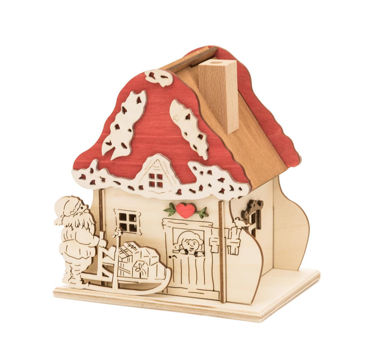 Räucherhäuschen - Pilzhäuschen mit Weihnachtsmann, Original Erzgebirge