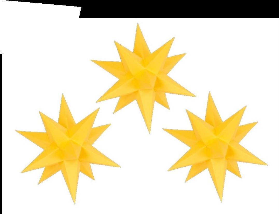 3er Set Adventssterne aus Papier, altgold - einfarbig, 17 cm