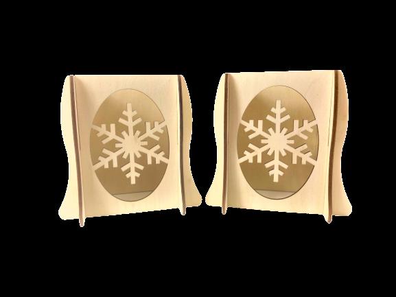Lichterbogenerhöhung 2er Set - Schneeflocke, Original Erzgebirge